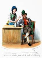 Tyrolean national costumes. Austrian traditional fashion. Puster Valley folk dress.