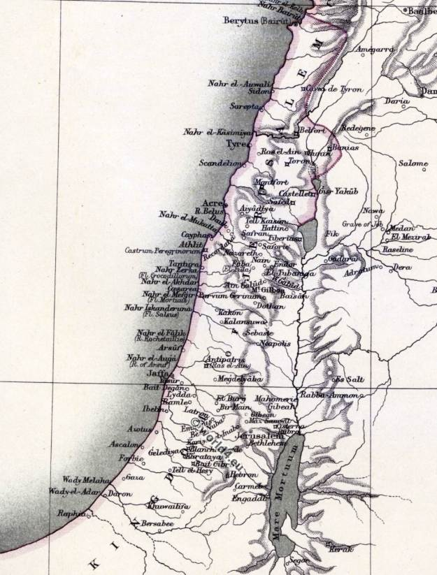 The crusades. Maps and places.The kingdom of Jerusalem. Map of Syria. Holy Land. 11th century.