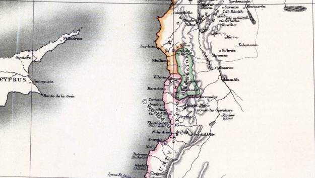 County of Tripoli Map Syria. The crusades. 11th to 13th century. Holy Land map.