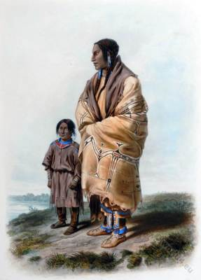 Native Americans. American natives. Assiniboin dress. Dakota costume. Karl Bodmer.
