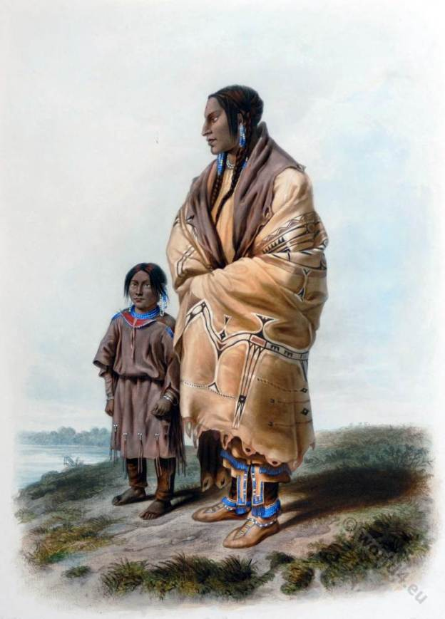 American natives. Assiniboin dress.Dakota costume. Hut Interior. Karl Bodmer.