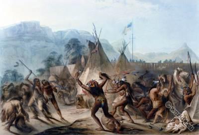 Fort McKenzie. Assiniboine warriors. Blackfeet Battle. American natives costumes.