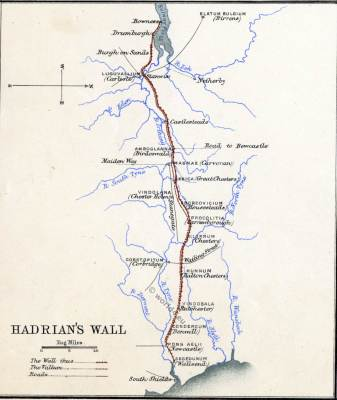 Map Hadrians Wall. Roman empire. Roman Britain. Historical atlas