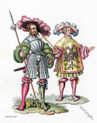 Herald, lansquenet, Mercenaries baggy breeches. 16th century costumes. Renaissance fashion.