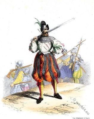 Landsquenets. 16th century military. Renaissance soldier uniforms.