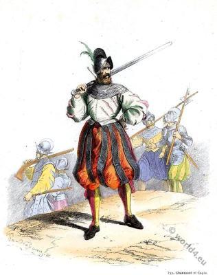 Landsquenets. 16th century mercenary military. Renaissance soldier uniforms.