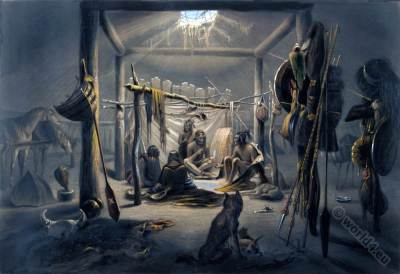 American natives. Mandan Chief. Hut Interior. Karl Bodmer.