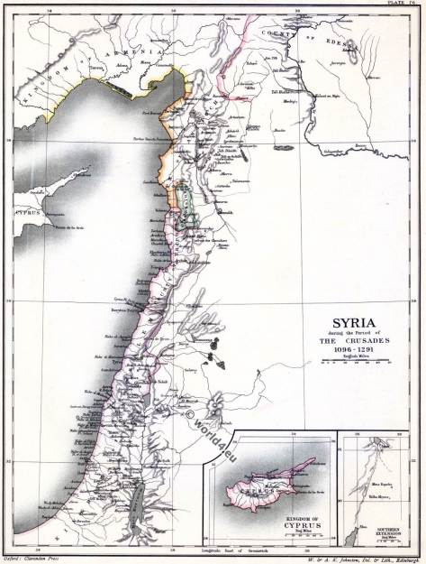 The crusades. Maps and places of Syria. Holy Land. 11th century.