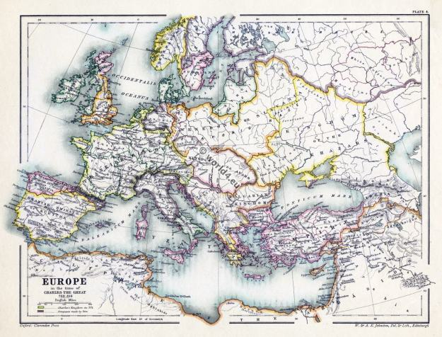 Map Carolingian Empire. Charles the Great. Middle Ages.