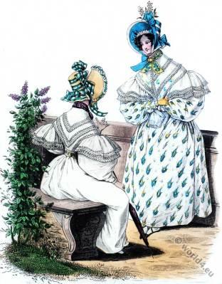 Romantic fashion. Restoration costumes. Biedermeier fahion.