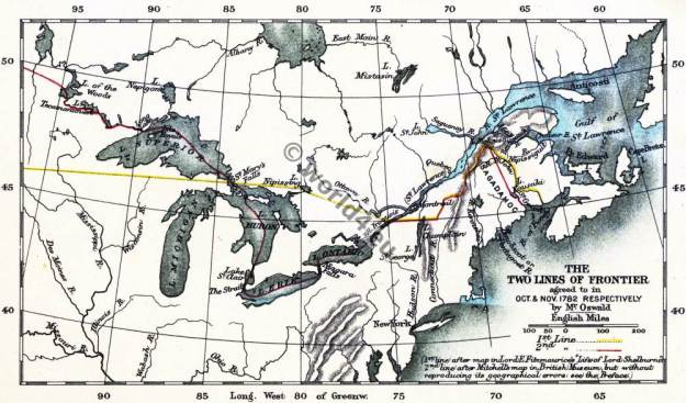Map Lines of Frontier. American Revolutionary War. United States of America