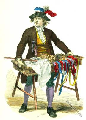 Fashion History. Ribbons merchant. 18th century costume
