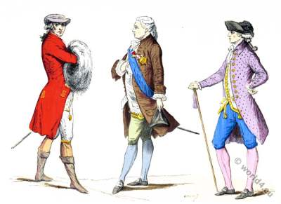 Paris 18th century nobility fashion. Rococo costumes.