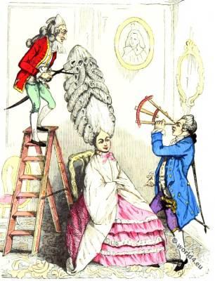 Coiffure à l'échelle. Rococo fashion. Rococo hairstyle.