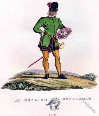 English Gentleman costume. 16th century fashion. Shield and sword.