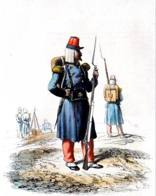Outfielder. French light infantry voltigeur uniform