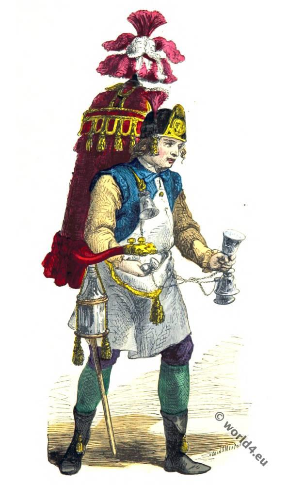 Merchant costume of coconut . Paris fashion 18th century