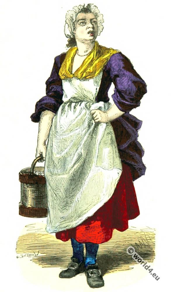 Costumes of Paris. Merchant walnuts costume. 18th century fashion.