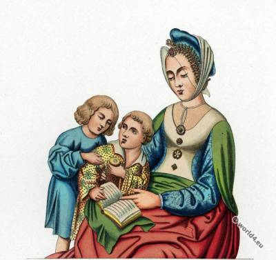 children costume, gothic costumes. 15th century fashion. Middle ages fashion