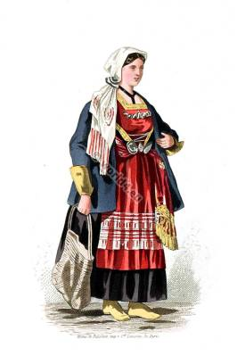 Moravia traditional folk dress. Czech Republic traditional national costumes