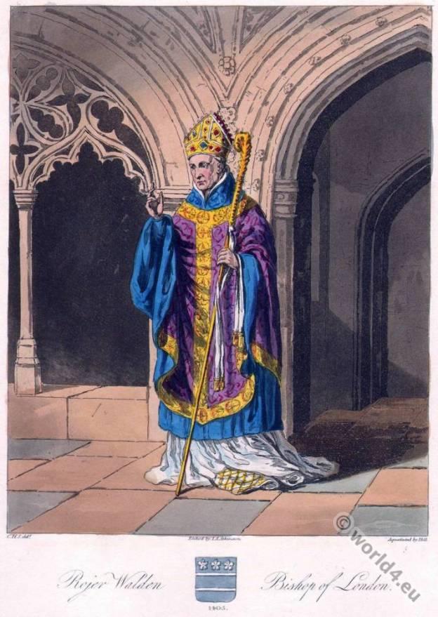 Roger Walden. Archbishop of Canterbury. English clergyman. 14th century costume.