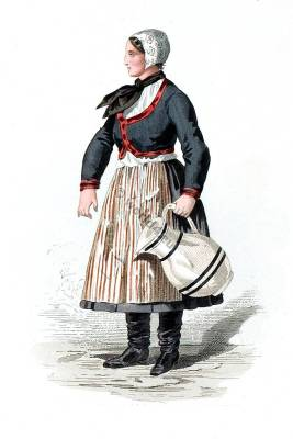 Saxon Slawe peasant costume. Traditional German national costume