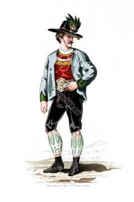 Traditional Tyrol folk dress. Austria national costumes