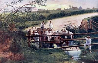 Cuba horse carriage. Cuba war. Spanish–American War. Caribic islands. American colonialism. Creole costumes.