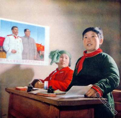 Mongolia school boy costume. China Communism. Propaganda.