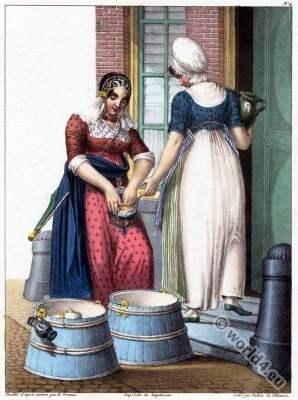 Traditional Dutch costumes, servant, Amsterdam,