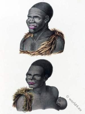 Tasmania, Inhabitants, Van Diemens Land. costumes