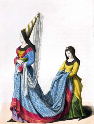 Costumes de Noblesse.Gothique, la mode médiévale. 14ème siècle.