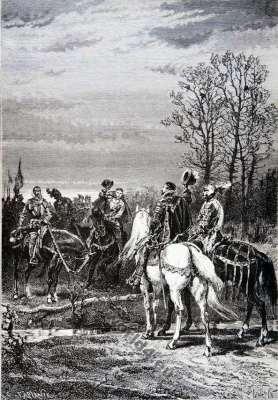 King Charles IX . Huguenot. Battle of Moncontour. Huguenot war. 16th century.