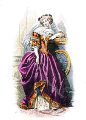 Cour de Louis XIII., 1630. Cour robe du 17ème siècle. la mode baroque.