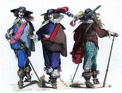 Musketeers costumes. Baroque fashion history. Gentlemen 17th century costumes.