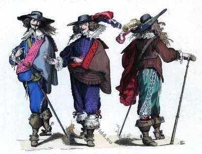 Musketeers costumes. Baroque fashion history. Gentlemen 17th century costumes.