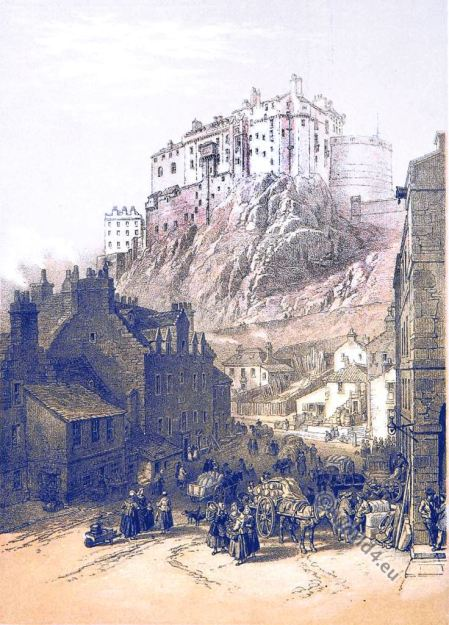 Edinburgh castle. W. L. Leitch. Scotland. 19th century Illustration.
