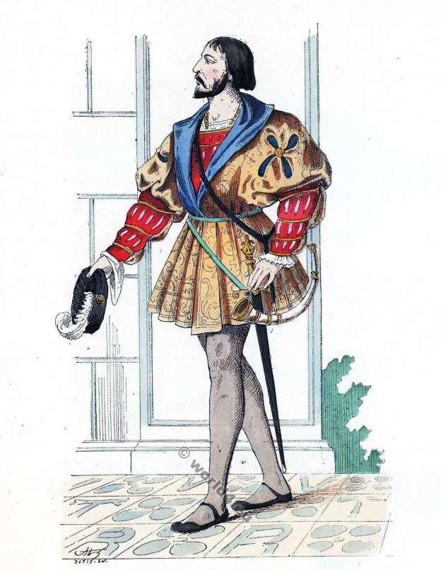 Gentilhomme de la cour de François 1er. 16ème siècle costume. Histoire de la mode Renaissance.