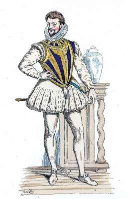 Henri de Lorraine, Duc de Guise, dit le Balafré. Histoire de la mode renaissance. 16ème siècle costume.