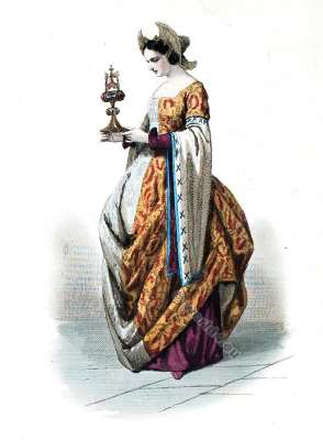 Medieval costumes 15th century. Cour de Charles VII. Middle ages fashion.