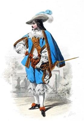 Mousquetaire. Cour de Louis XIII., 1630. Cour robe du 17ème siècle. la mode baroque.