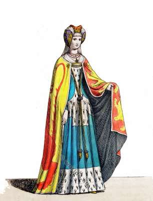 Middle ages fashion. 14th century costumes. heartshaped hennin. Burgundian costume