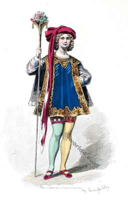 Page. Cour de Louis XIII., 1630. Cour robe du 17ème siècle. la mode baroque.