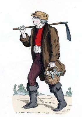 French peasant farmer costume. Louis XIII., Louis XIIV., fashion era. French Ancien Régime.Baroque fashion history.
