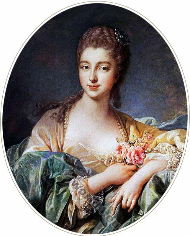 Madame de Pompadour. Mistress. Louis XV. Rococo fashion. 18th century.