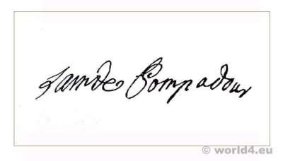Autograph. Madame de Pompadour. Mistress. Louis XV. 18th century nobility.