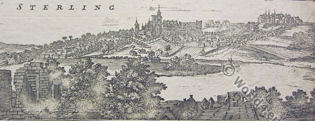 Sterling. Scotland. historic view. illustration Middle ages
