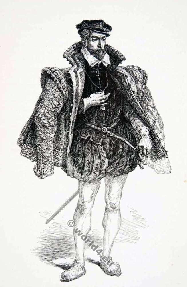 Gaspard II. De Coligny, Comte de Coligny. Huguenot leader. 16th century. Baroque fashion history.