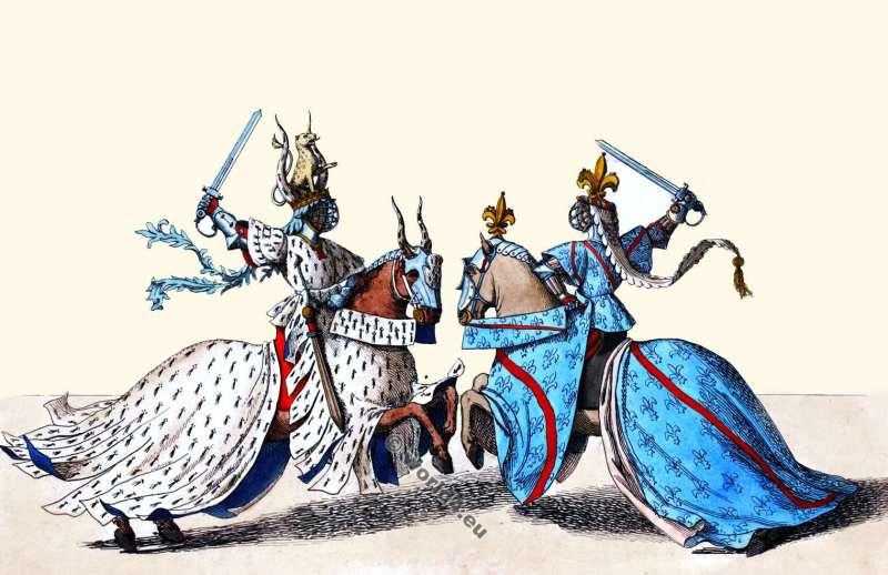 Chefs, Tournoi. 14ème siècle. Chevaliers, bataille, Médiéval, gothique, Bourgogne, Costume Histoire.