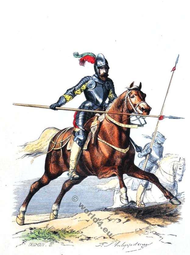 Chevau-légers. Chevaulegers. La garde du roi Henry IV. Sergent en armure. Maison militaire du roi de France. Uniform, costumes.